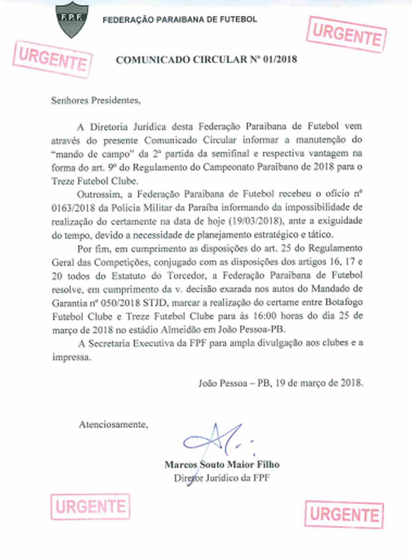 Circular da FPF, confirmando que Botafogo-PB x Treze vai ser mesmo no domingo (Foto: Reprodução / FPF)