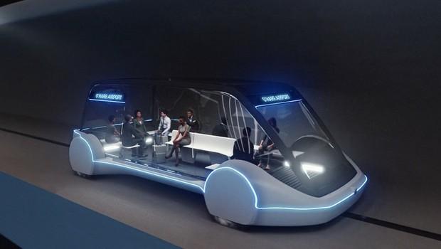 Os veículos propostos pela Boring Company têm capacidade para 16 passageiros (Foto: Divulgação)