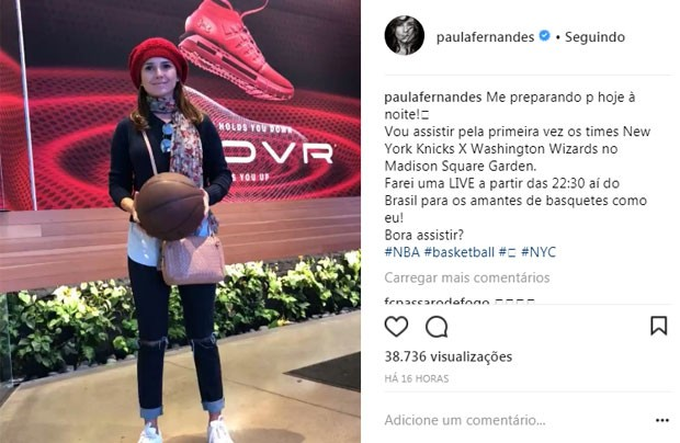 Paula Fernandes no jogo de basquete  (Foto: Reprodução)