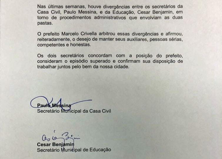 Cesar Benjamin e Paulo Messina assinam 'termo de paz' após ofensas por redes sociais