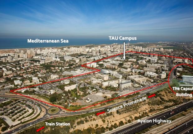 Vista aérea da Universidade de Tel Aviv (Foto: Fernanda Thees )