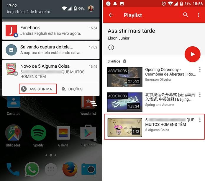 YouTube tem pode ter vídeo enviado para lista de assistir mais tarde a partir de notificação (Foto: Reprodução/Elson de Souza)