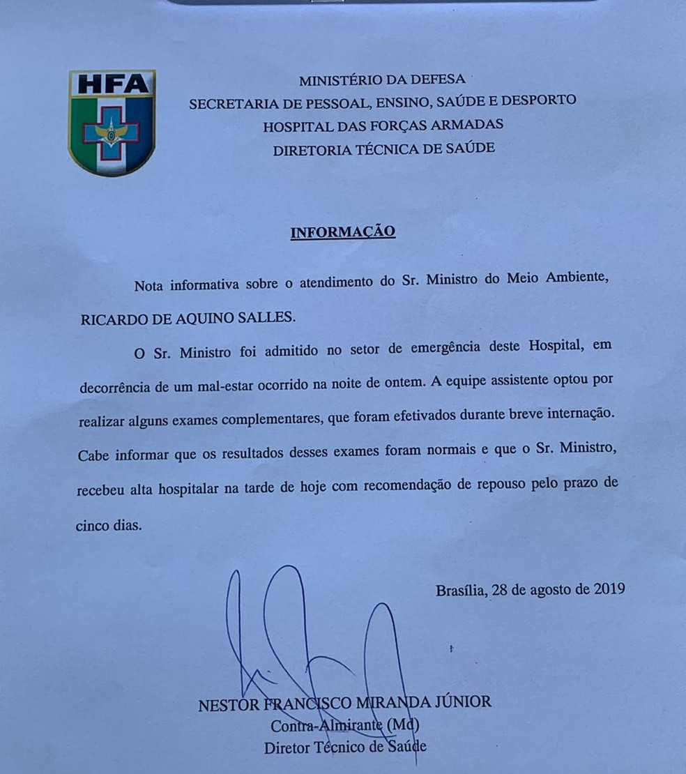 Documento de alta do Ministro Ricardo Salles, do Meio Ambiente, após internação no Hospital das Forças Armadas, no DF — Foto: Reprodução