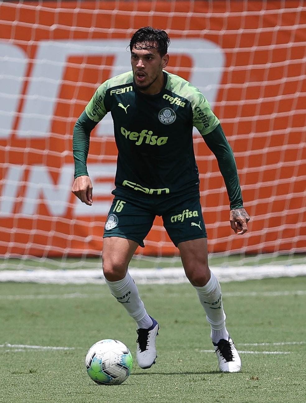 Gustavo Gómez voltou a treinar com o Palmeiras nesta sexta-feira — Foto: Cesar Greco/Ag. Palmeiras
