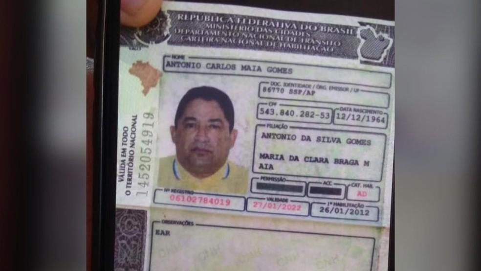 CNH apresentada por motorista de caminhonete envolvido em acidente — Foto: Divulgação