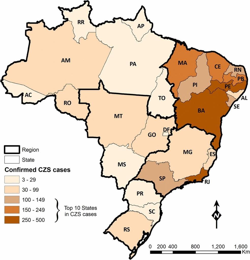 Mapa publicado no estudo mostra a distribuição brasileira dos casos de anomalias em crianças associadas ao zika; o marrom mais escuro indica as regiões com maior concentração de casos (Foto: Marcia C. Castro et al/PNAS)