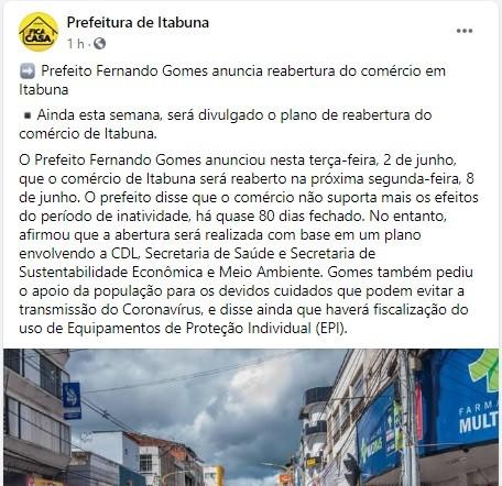 Prefeito de Itabuna anuncia reabertura do comércio a partir da próxima segunda-feira