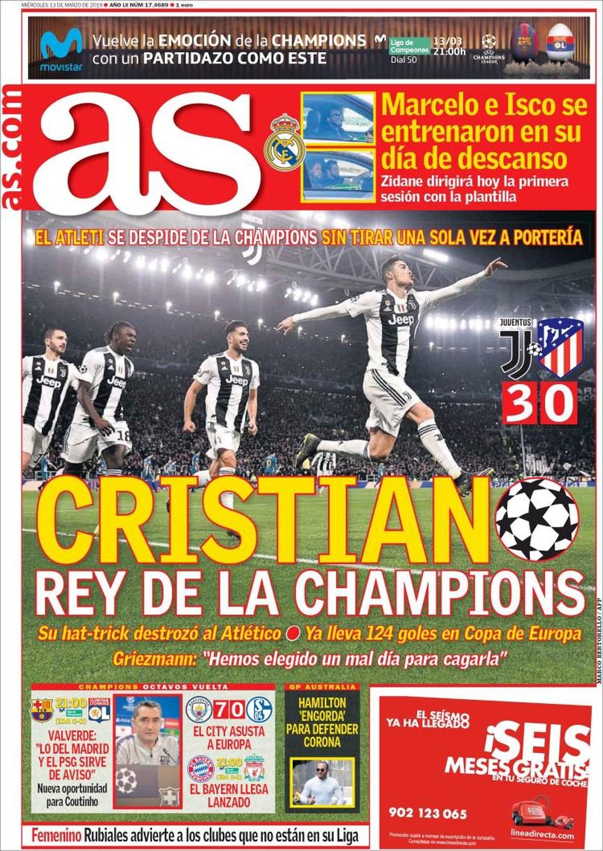 Capa As Juventus 3 x 0 Atlético de Madrid — Foto: Reprodução