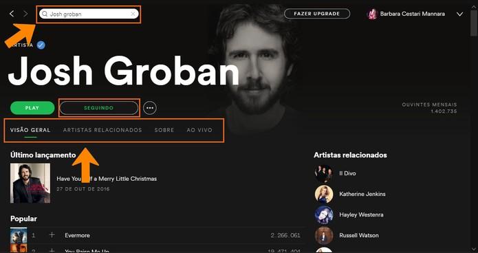 Siga o perfil do seu artista favorito no Spotify (Foto: Reprodução/Barbara Mannara)