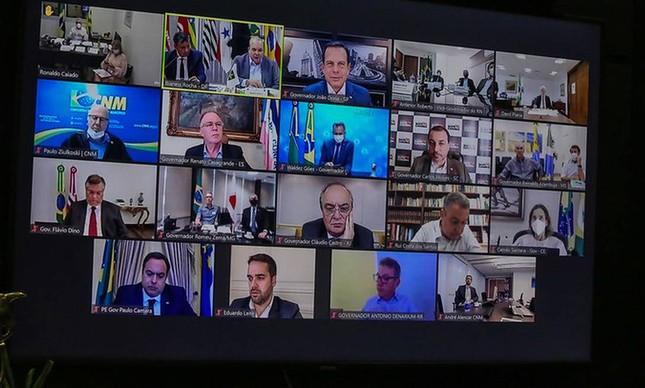 Por videoconferência, governadores se reúnem e discutem clima de instabilidade política no país