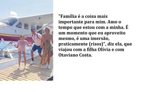 Flávia Alessandra viajou de jatinho com Otaviano Costa e a filha do casal, Olívia Reprodução