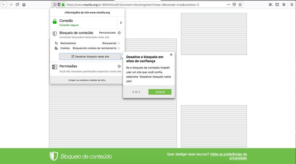 Nova versão do Firefox tem a opção de bloqueio de rastreadores. — Foto: Reprodução/G1
