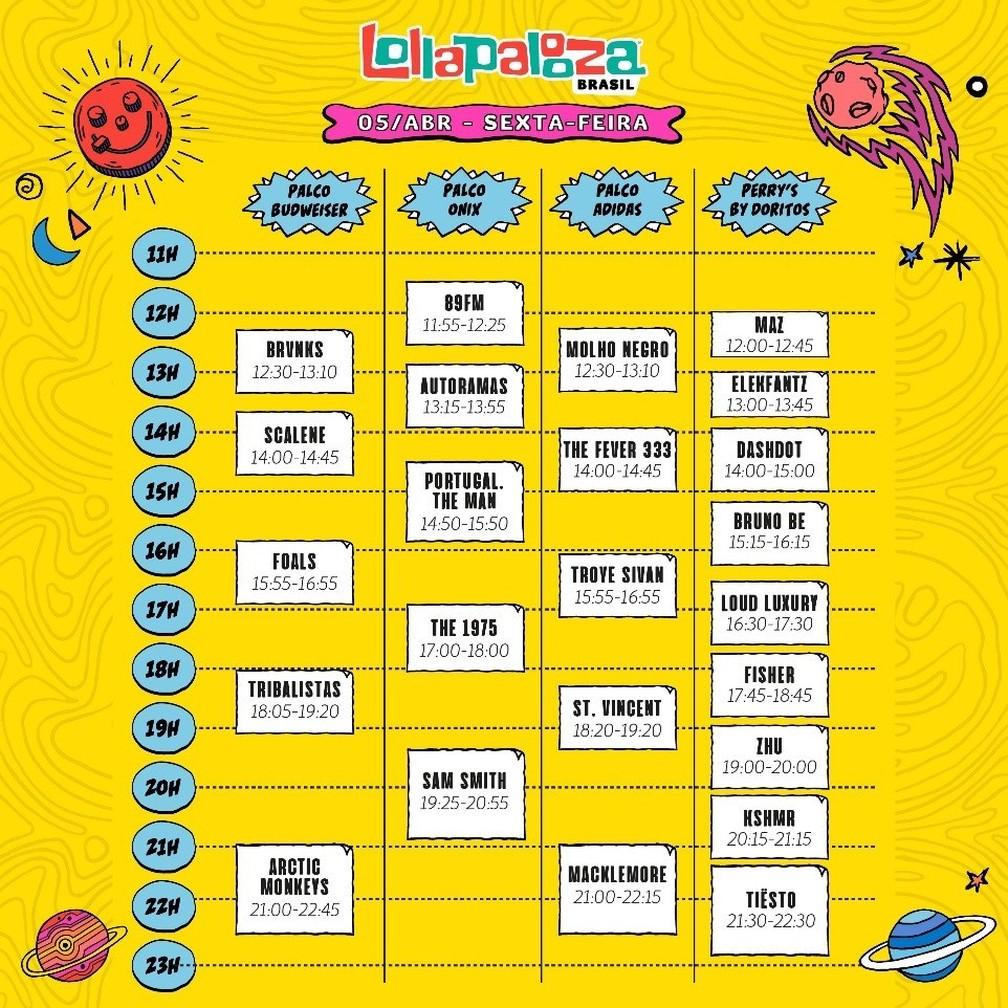 Programação musical do primeiro dia de Lollapalooza 2019 — Foto: Divulgação