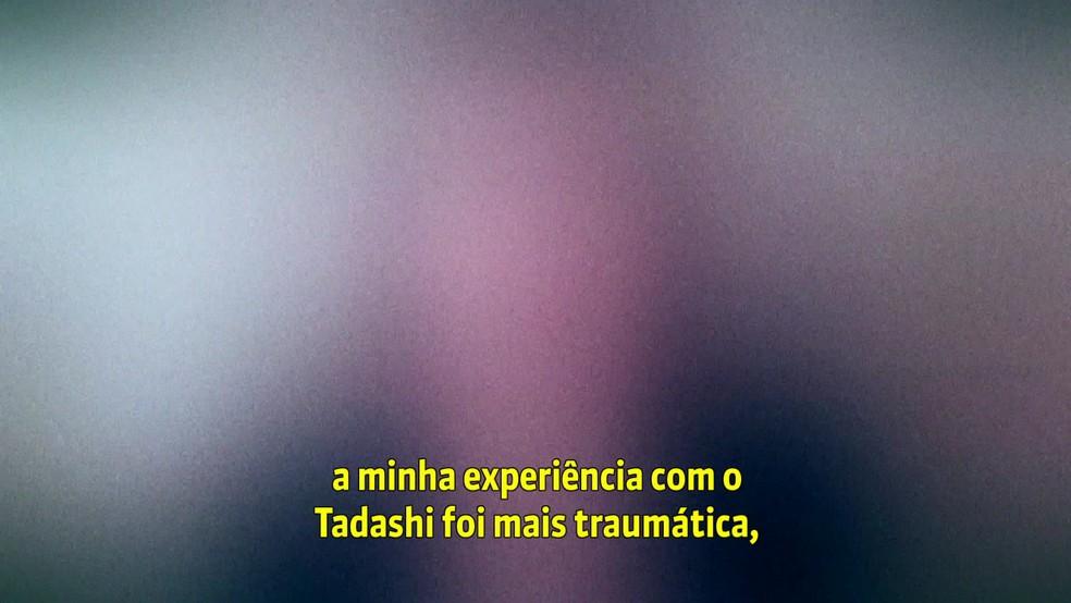 Relato de uma das mulheres que acusam o terapeuta Tadashi Kadomoto de abuso sexual — Foto: Reprodução/TV Globo
