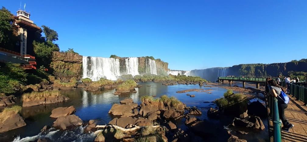 Vazão nas Cataratas do Iguaçu está abaixo do normal, neste sábado (15) — Foto: Nilton Rolin / Cataratas do Iguaçu