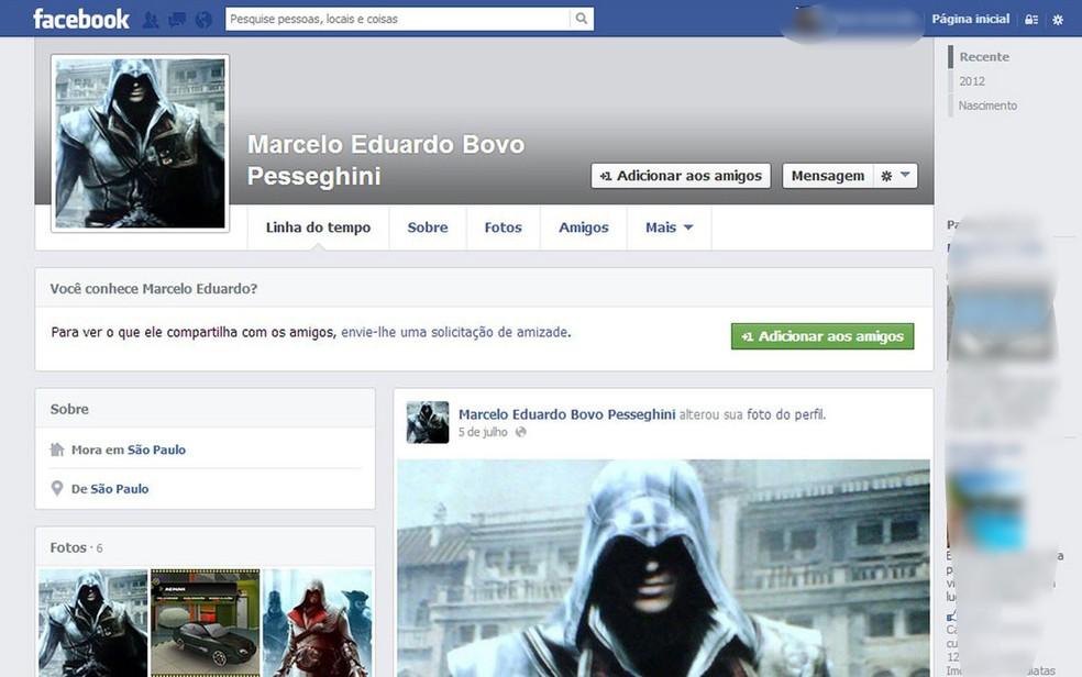 Marcelo Pesseghini colocou a foto do personagem do jogo Assassins Creed um mês antes do crime cometido em 2013 (Foto: Reprodução/Arquivo)