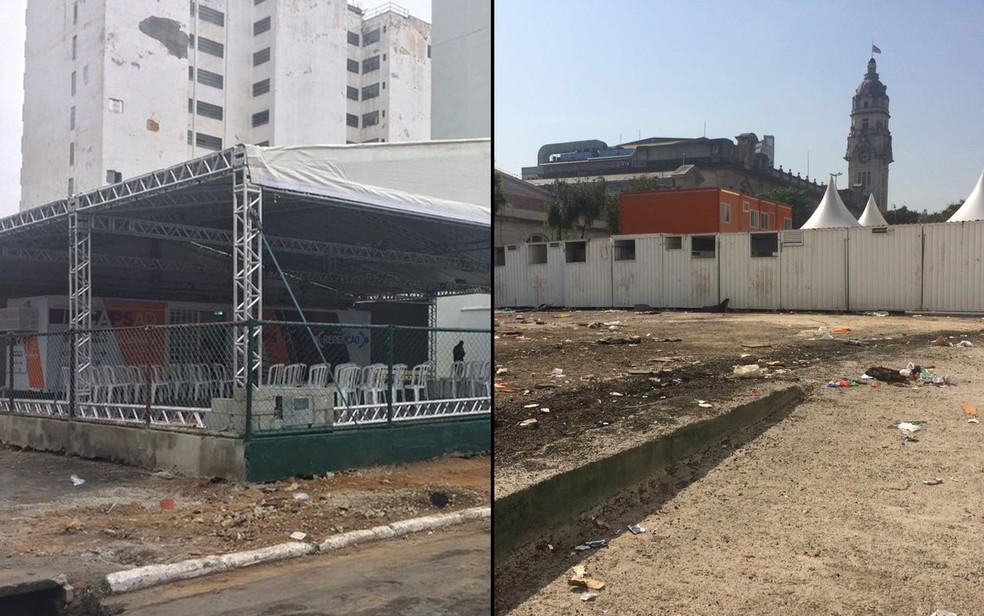 Tenda do projeto Redenção, quando foi inaugurada, e, quase cinco meses depois, um terreno baldio (Foto: Paulo Toledo Piza e Paula Paiva Paulo/G1)