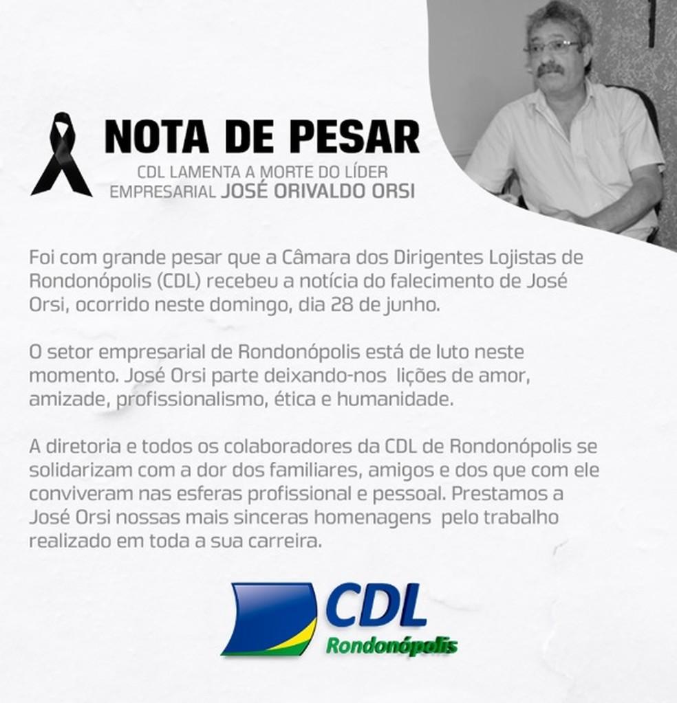 CDL de Rondonópolis divulga nota de pesar — Foto: CDL Rondonópolis