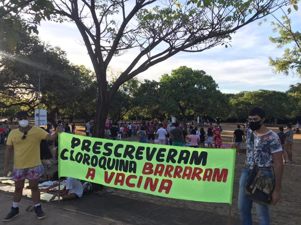 Manifestantes fazem ato contra Bolsonaro e a favor da vacina  — Foto: Divulgação/Eduardo Azevedo