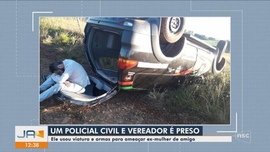 Vereador capota viatura da Polícia Civil e é preso suspeito de ameaçar família em SC