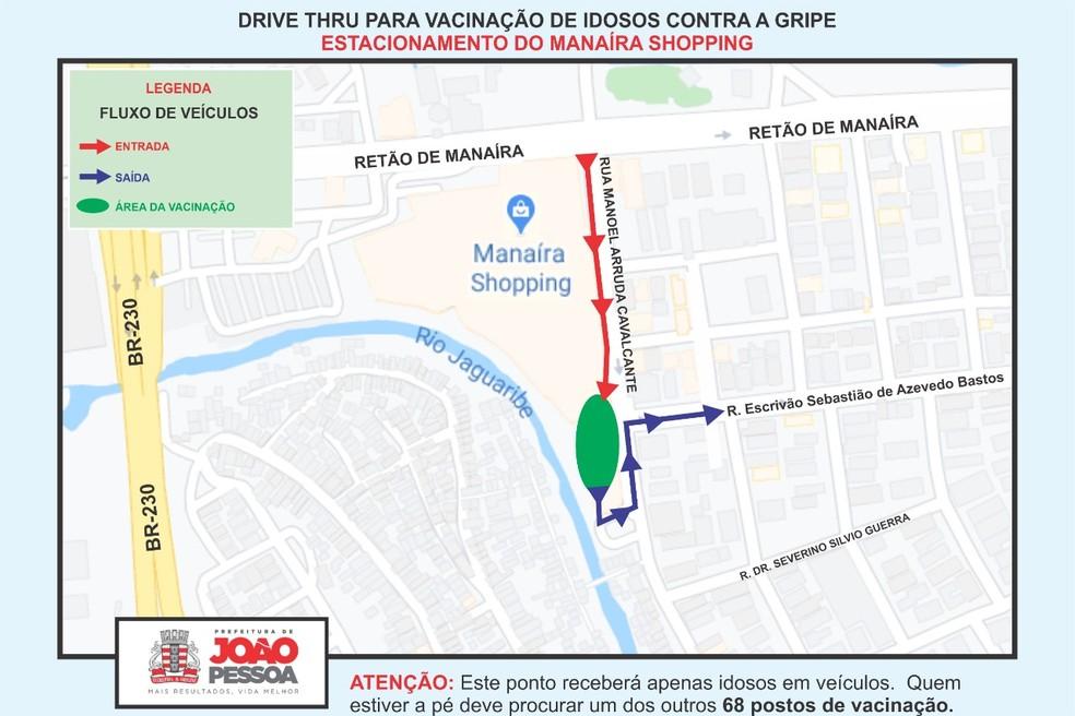 Vacina drive thru no Manaíra Shopping, em João Pessoa — Foto: Secom-JP/Divulgação