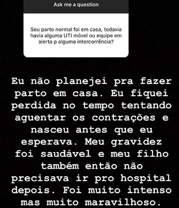 Candice responde seguidor sobre parto em casa (Foto: Reprodução/Instagram)