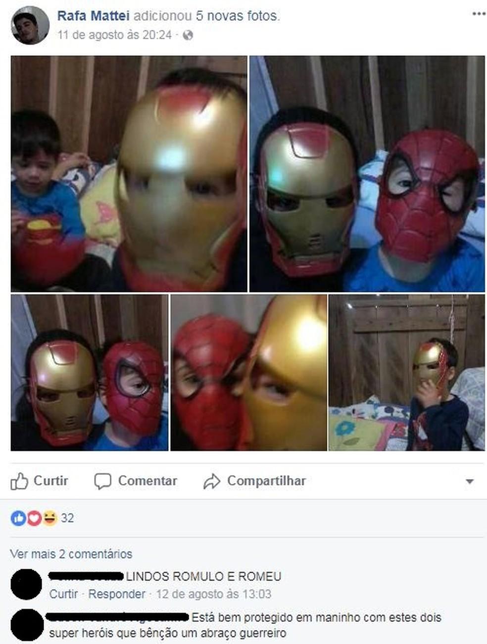 Uma das últimas postagens de Rafael tinha fotos dos filhos (Foto: Reprodução/Facebook)