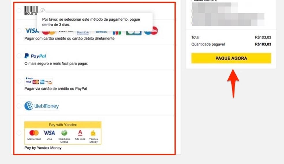 Açào para usar outras formas de pagamento para comprar produtos no site Gearbest â?? Foto: Reprodução/Marvin Costa