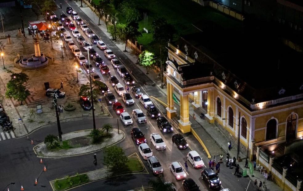 Paranaguá tem vacinado na Estação Ferroviária. — Foto: Divulgação/Prefeitura de Paranaguá