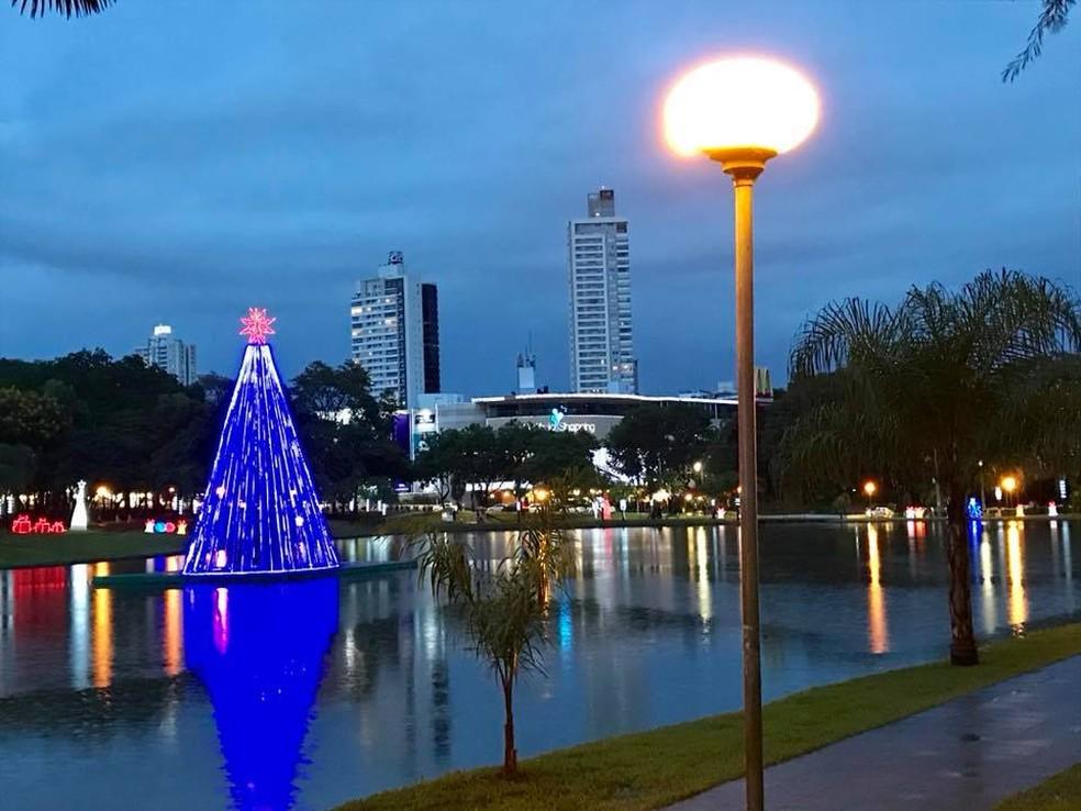 Árvore de Natal feita com garrafas pet tem 15 metros de altura e fica dentro do lago (Foto: Reprodução/Facebook)