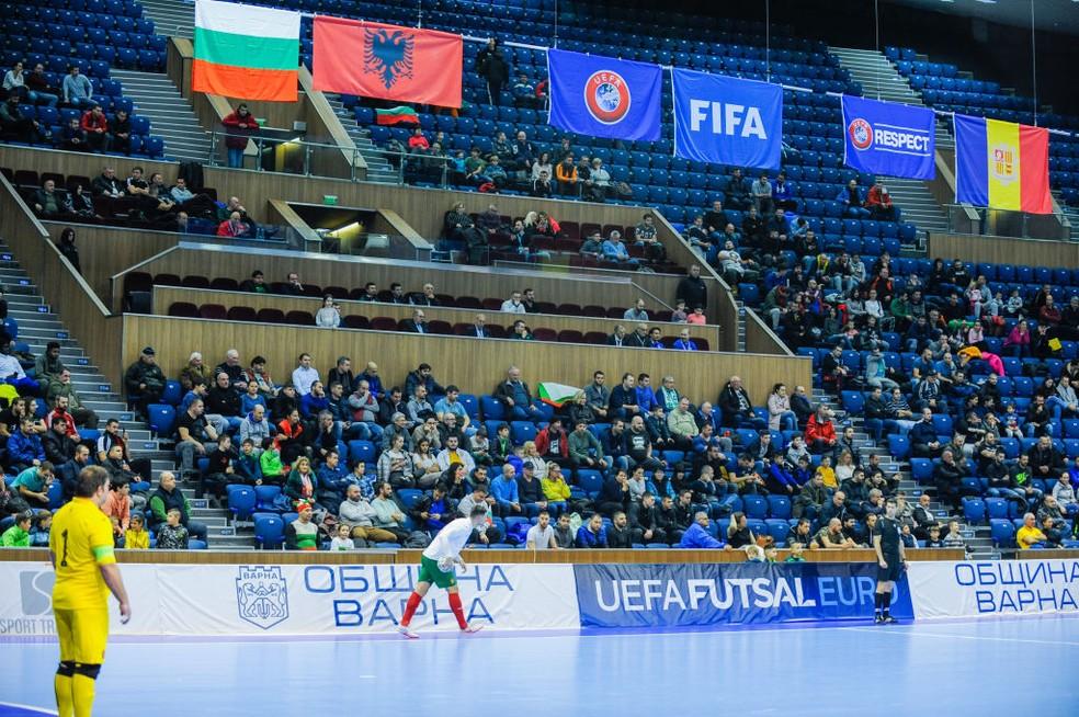Cena de Bulgária x San Marino pela Uefa Futsal Euro em janeiro — Foto: Hristo Rusev/NurPhoto