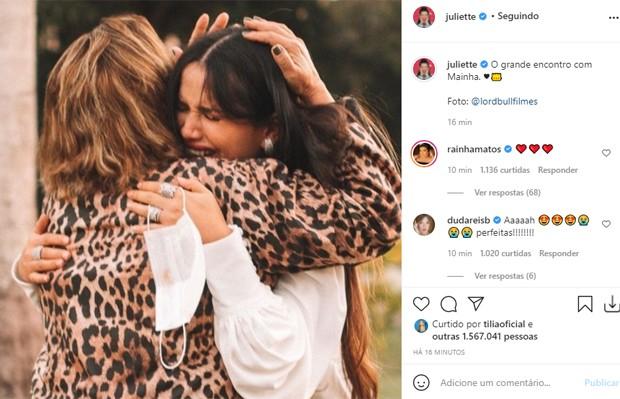 Juliette conquista mais de 1,5 milhão de likes em 15 minutos em foto de reencontro com a mãe (Foto: Reprodução/Instagram)