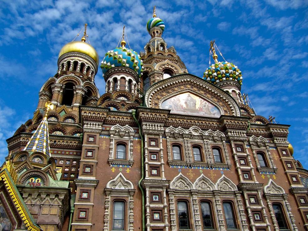A Igreja do Sangue Derramado, em São Petersburgo — Foto: Felicity Rainee/Creative Commons