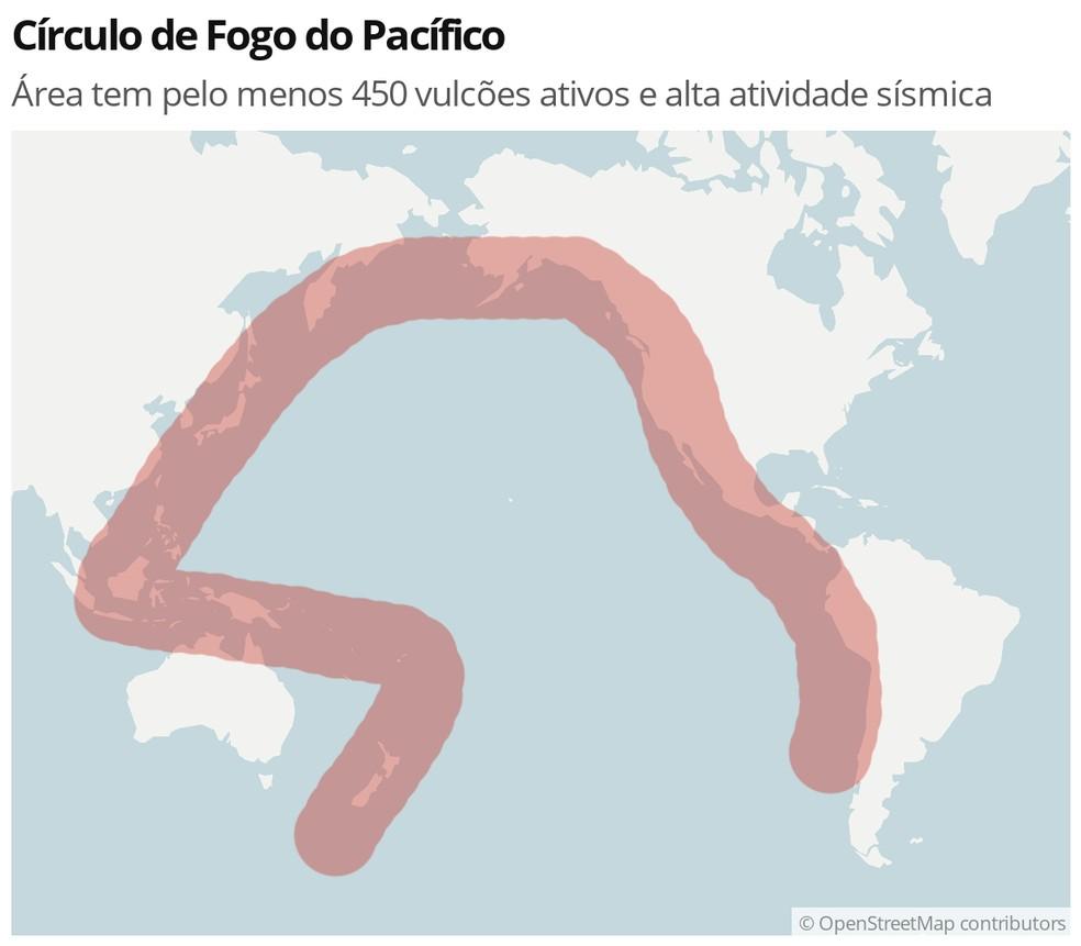 Mapa identifica a região do Círculo de Fogo do Pacífico — Foto: Ciência/G1
