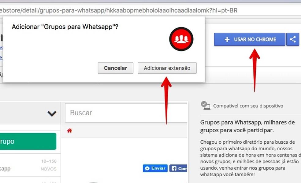 Instalando a extensão Grupos para WhatsApp no navegador Chrome (Foto: Reprodução/Helito Bijora)