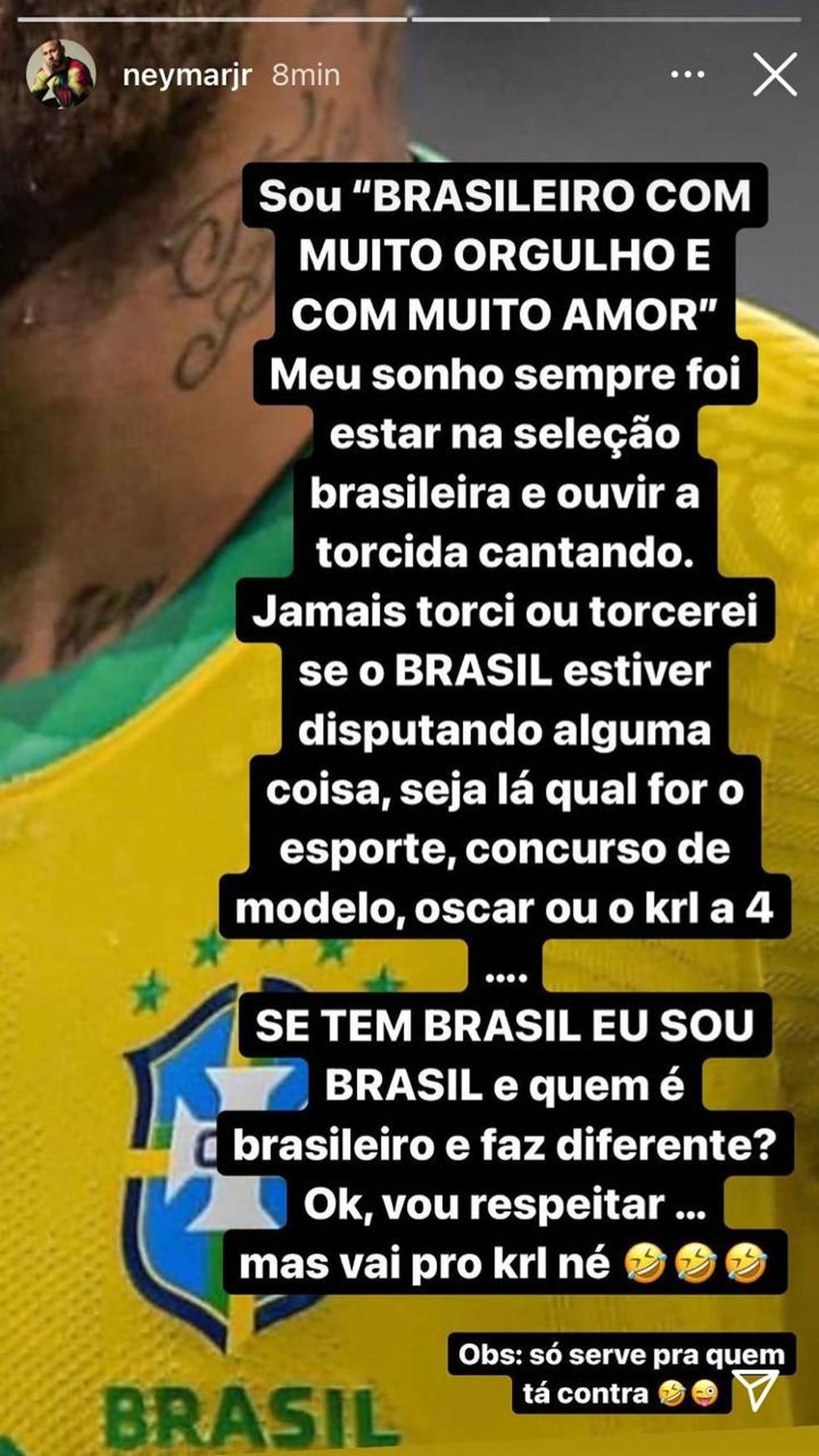 Neymar critica brasileiros que torcem para a Argentina — Foto: Reprodução
