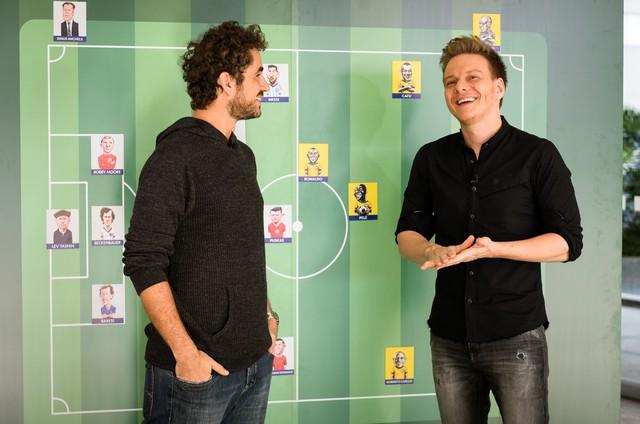 Felipe Andreoli e Michel Teló (Foto: Ramon Vasconcelos/ TV Globo)
