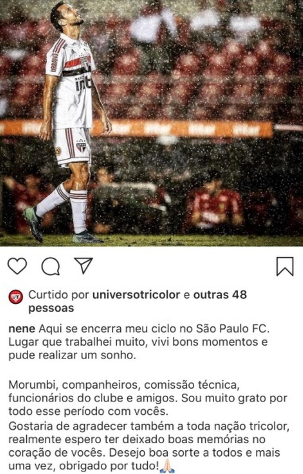 Nenê se despede do São Paulo por meio do instagram: meia vai para o Fluminense — Foto: Reprodução / instagram
