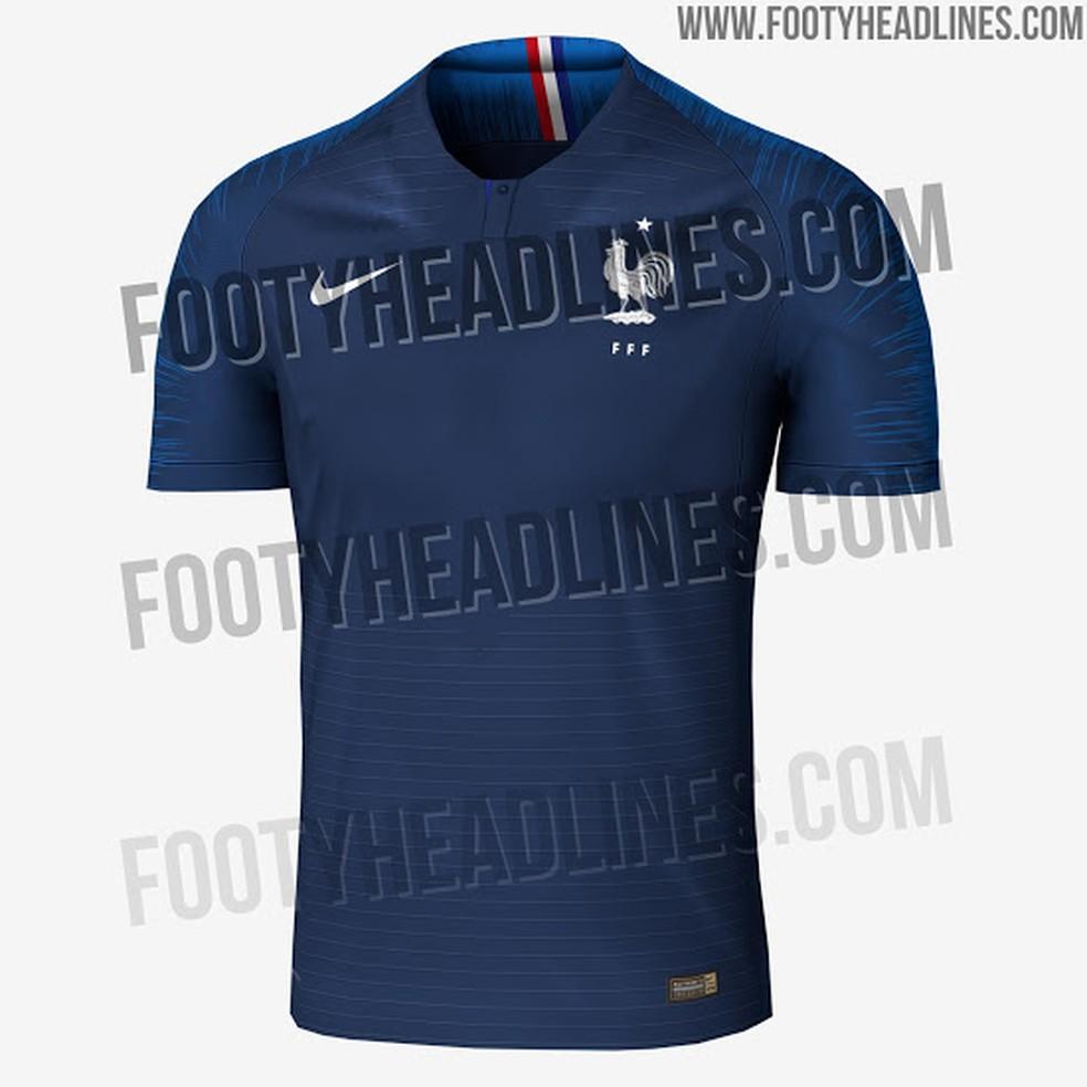 549eebb131 Suposta camisa da França para a Copa do Mundo (Foto  Reprodução   Footy  Headlines