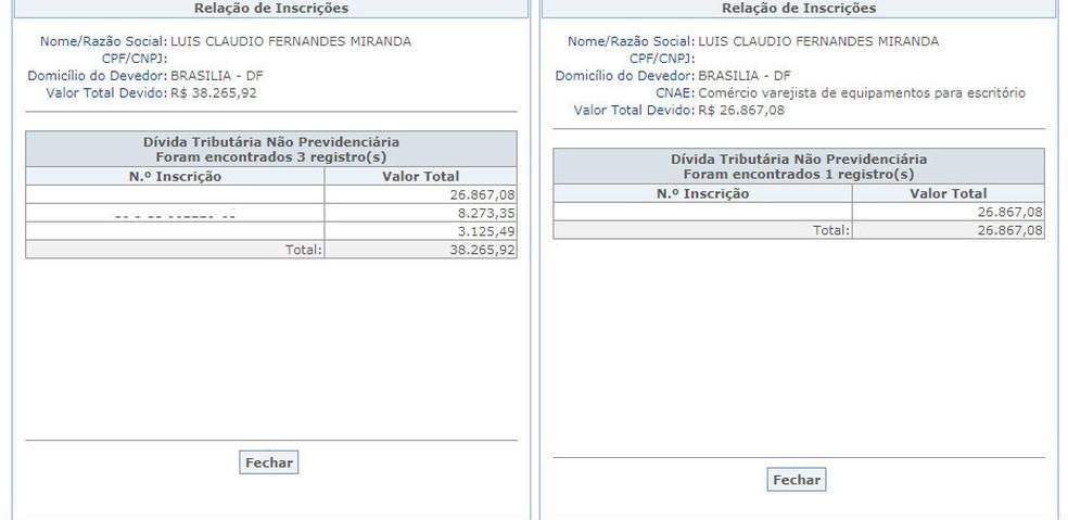 Dívidas do deputado federal Luis Miranda somam R$ 65 mil. — Foto: Reprodução