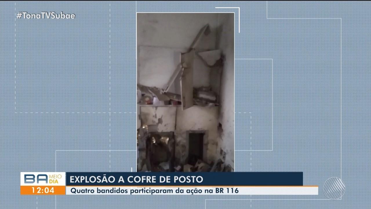Bandidos explodem cofre de posto de combustível, em Feira de Santana