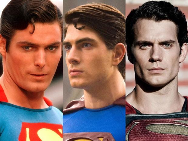 Christopher Reeve em 'Superman', Brandon Routh em 'Superman - o retorno' e Henry Cavill em 'O homem de aço' (Foto: Divulgação)