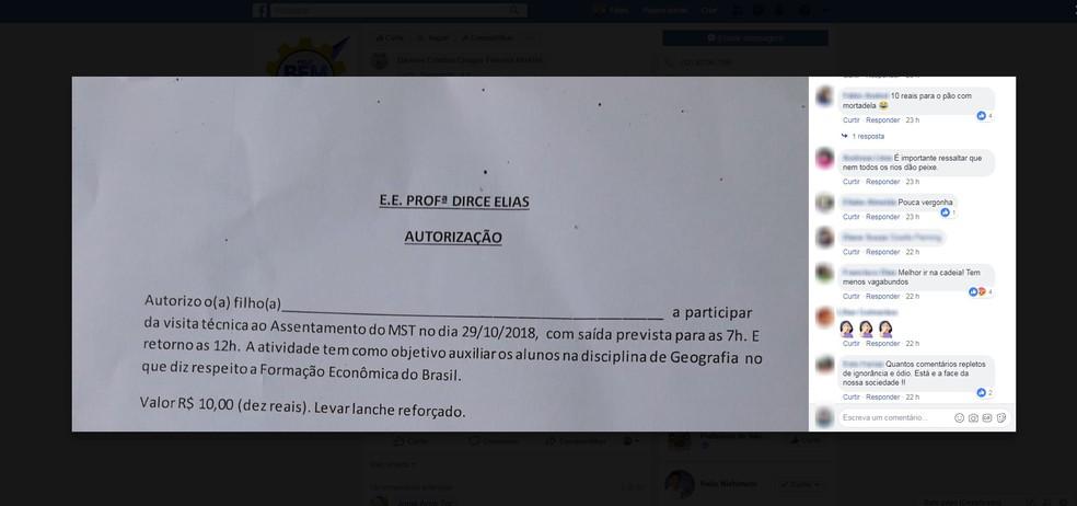 Bilhete para excursão a assentamento do MST gerou polêmica em São José — Foto: Reprodução