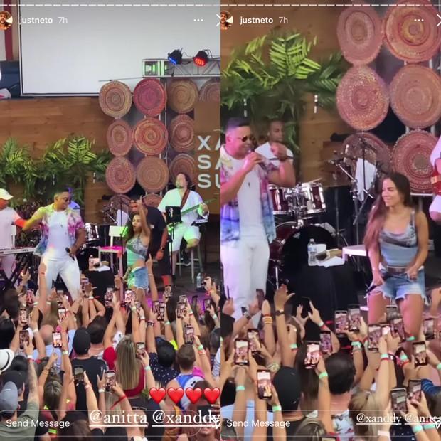 """Além de arriscar um pouco na percussão, a dupla cantou alguns hits como o feat """"Tic Nervoso"""" (Foto: Reprodução)"""