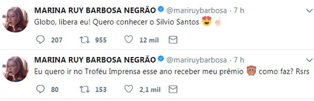 Marina Ruy Barbosa faz pedido para conhecer Silvio Santos no Troféu Imprensa (Foto: Reprodução/Twitter)