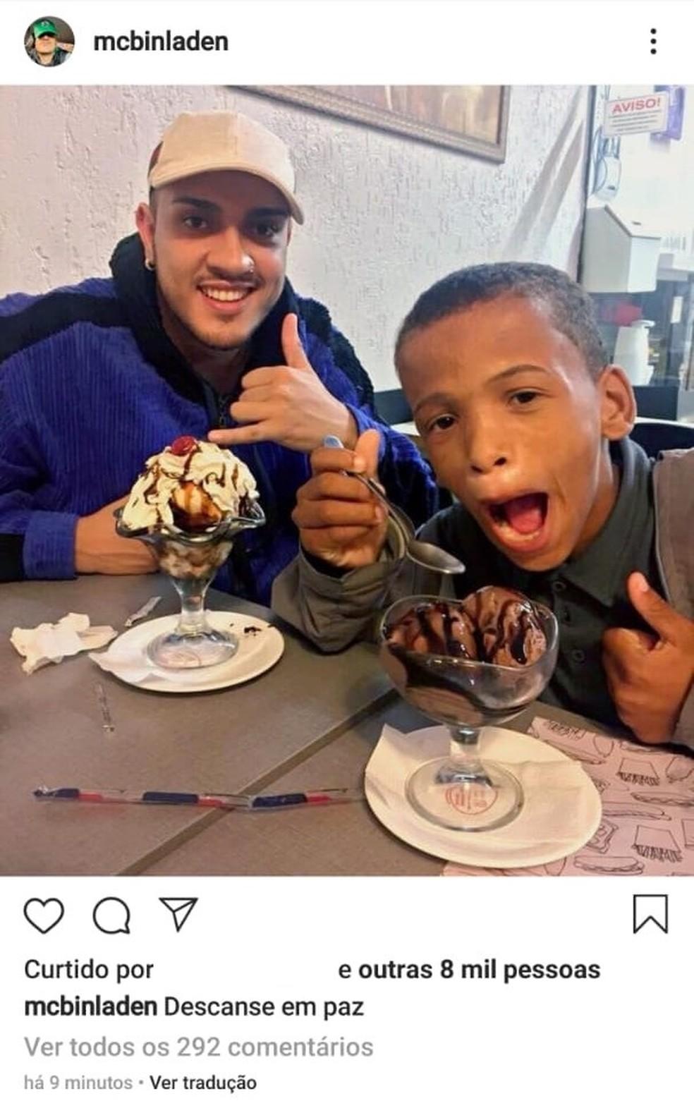 Mc Bin Laden publicou foto com menino Kallebe após a confirmação da morte do jovem — Foto: Reprodução/Instagram