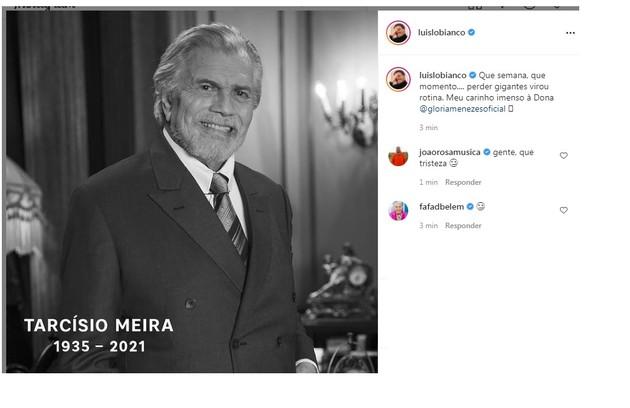 Luis Lobianco e Fafá de Belém lamentaram a perda (Foto: Reprodução)