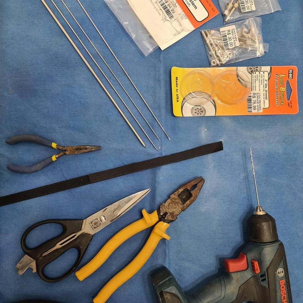 A veterinária Maria Ângela Panelli, de Barretos (SP), utilizou materiais de aeromodelismo e instrumentos de oftalmologia para construir a cadeirinha do papagaio Mefi — Foto: Maria Ângela Panelli