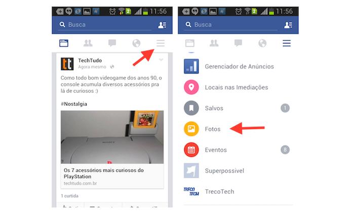 Acessando os álbuns de fotos de um perfil do Facebook pelo celular (Foto: Reprodução/Marvin Costa)