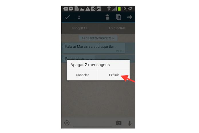 Excluindo várias mensagens de uma vez no WhatsApp para Android (Foto: Reprodução/Marvin Costa)